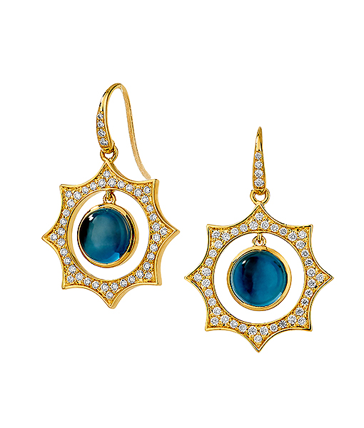 Syna London Blue Topaz and Diamond Earrings