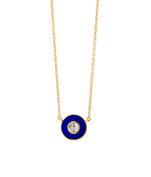 Syna Blue Enamel Disc Pendant with Champagne Diamonds