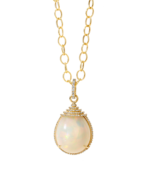 Syna Ethipian Opal Pendant with Champagne Diamonds