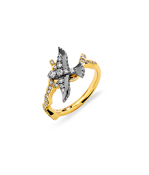 Syna Oxidized Silver Swallow Ring with Champgne Diamonds