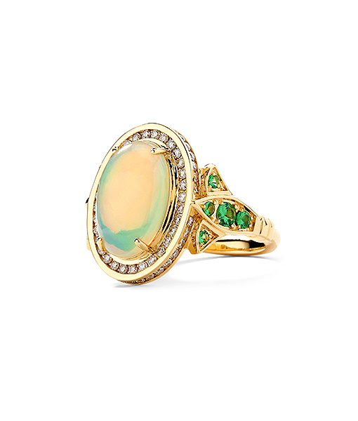 Syna Opal Ring with Diamonds and Tsavorites
