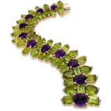 Tony Duquette Peridot Amethyst and Diamond Bracelet