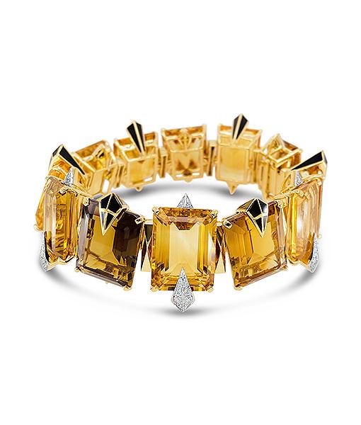 Tony Duquette Citrine Diamond and Enamel Bracelet