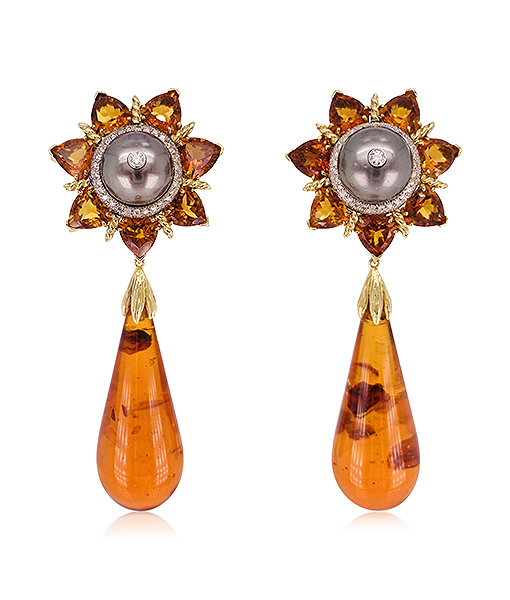 Tony Duquette Citrine and Amber Earrings with Diamond and Black Pearls