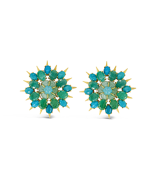 Tony Duquette Pale Emerald and Turquoise Earrings