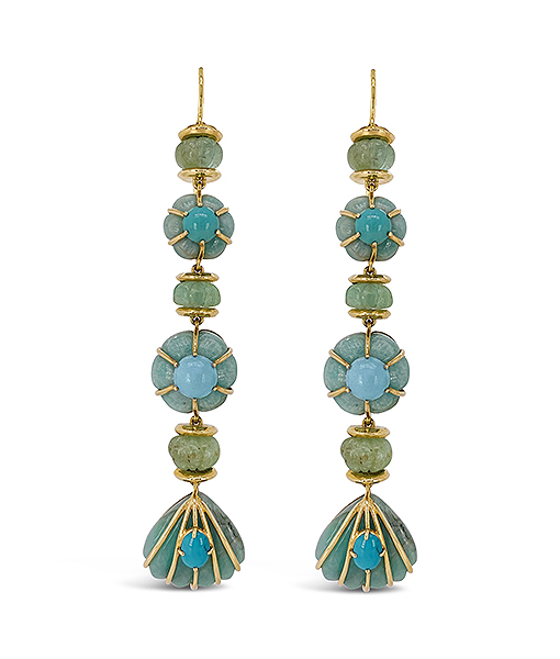 Pale Emerald and Turquoise Earrings