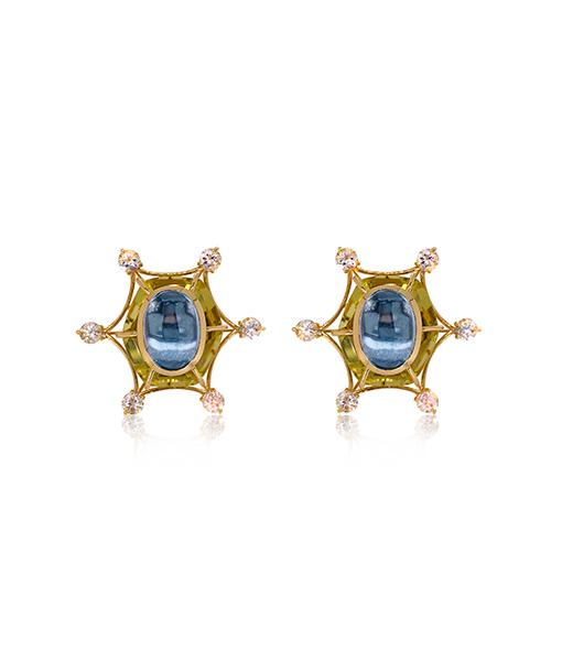 Tony Duquette Citrine and Aquamarine Earrings