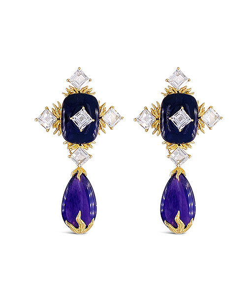 Tony Duquette Cabochon Amethyst and White Topaz Earrings