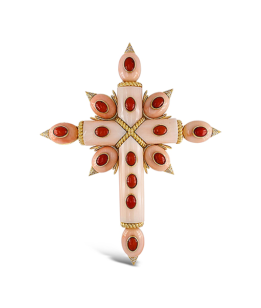Tony Duquette Angel Coral and Diamond Pendant