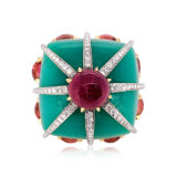 Tony Duquette Chrysoprase Ruby and Diamond Ring