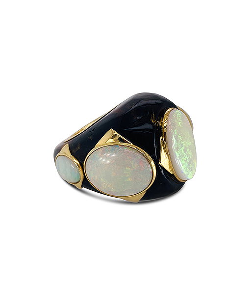 Tony Duquette Amber and Opal Ring