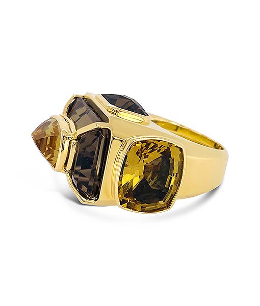 Tony Duquette Smoky Quartz and Citrine Ring