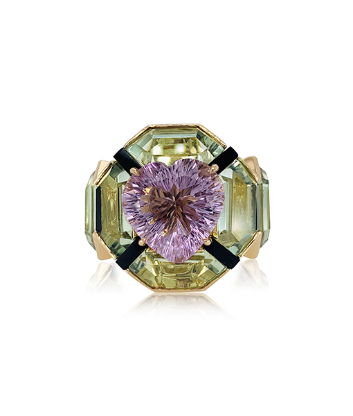 Tony Duquette Green Amethyst and Black Jade Ring