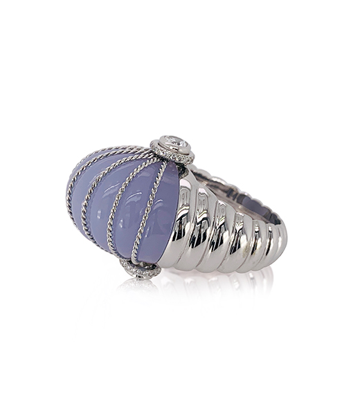 Tony Duquette Chalcedony and White Topaz Ring with Diamonds