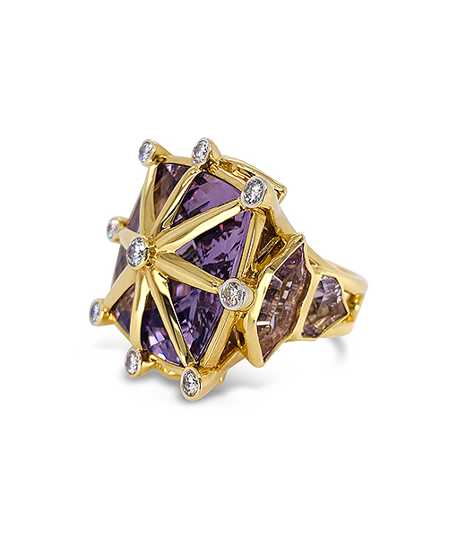 Tony Duquette Pink Amethyst and Diamond Ring