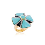 Tony Duquette Turquoise and Diamond Ring