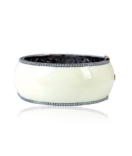 White Enamel and Diamond Bracelet