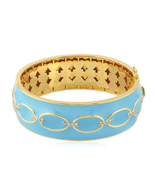 Light Blue Enamel Cuff with Diamonds
