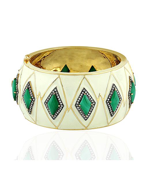 Diamond and Malachite Enamel Bracelet