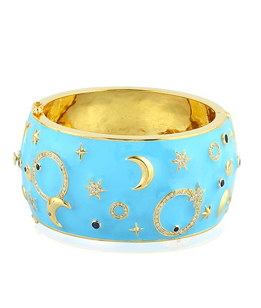 Moon and Stars Blue Enamel Bracelet
