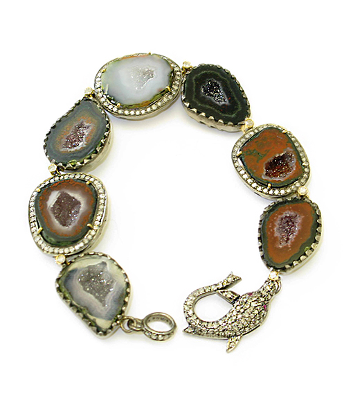 Geode and Diamond Bracelet with Dolphin Clasp