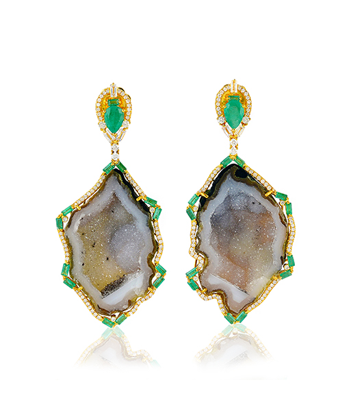 Geode Earrings with Diamonds and Emeralds