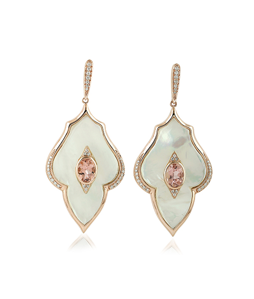 Tourmaline Earrings with Diamonds and Mother of Pearl