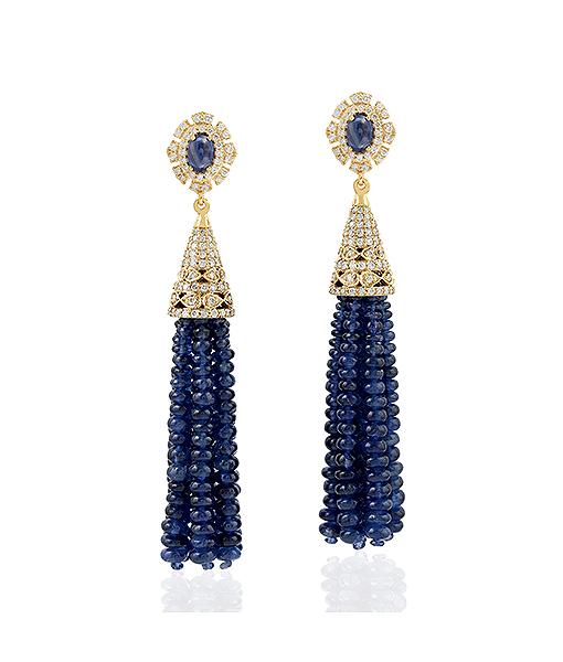 Sapphire Tassel Earrings with Diamonds