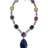 Multi Sapphire and Diamond Necklace