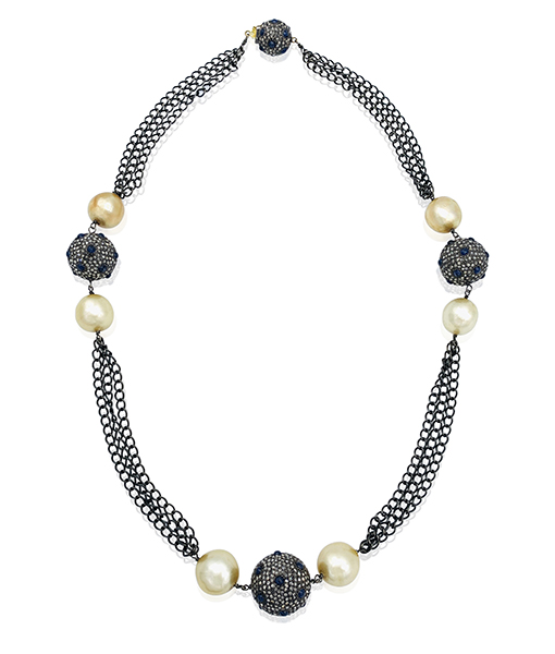 Pearl and Sapphire Chain Necklace