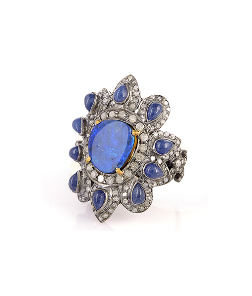 Opal Doublet Ring with Sapphire and Diamonds