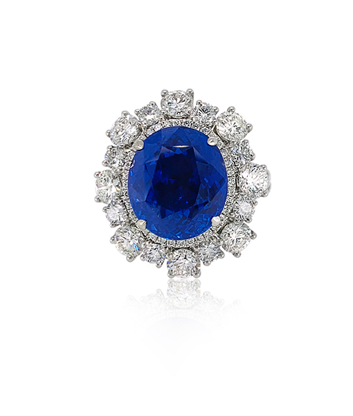 Oval Unheated Sapphire and Diamond Ring