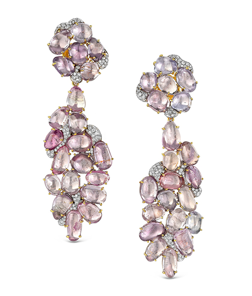 Victor Velyan Pink Sapphire and Diamond Collage Earrings