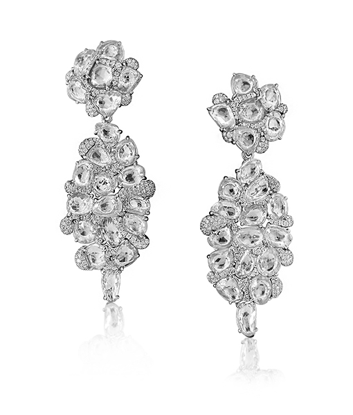 Victor Velyan White Sapphire and Diamond Collage Earrings