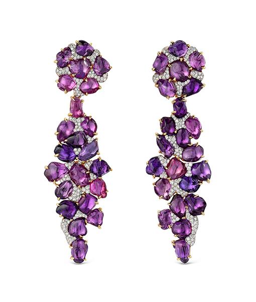 Victor Velyan Purple Garnet and Diamond Earrings