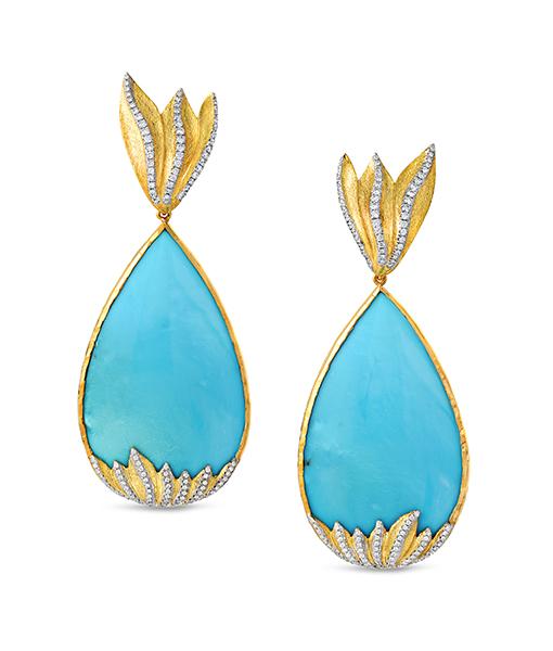 Victor Velyan Turquoise Diamond Earrings