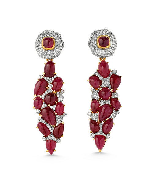 Victor Velyan Diamond and Ruby Earrings