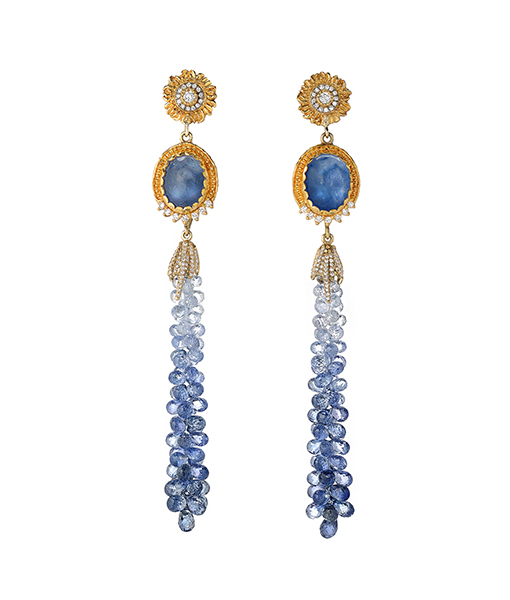 Victor Velyan Sapphire Briollete Earrings