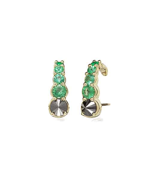 Ara Vartanian Emerald and Diamond Hook Earrings