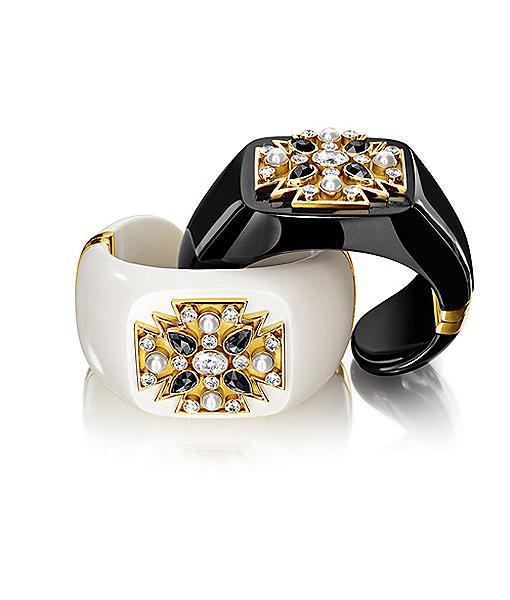 Verdura Black-White-Maltese-Cross-Cuffs
