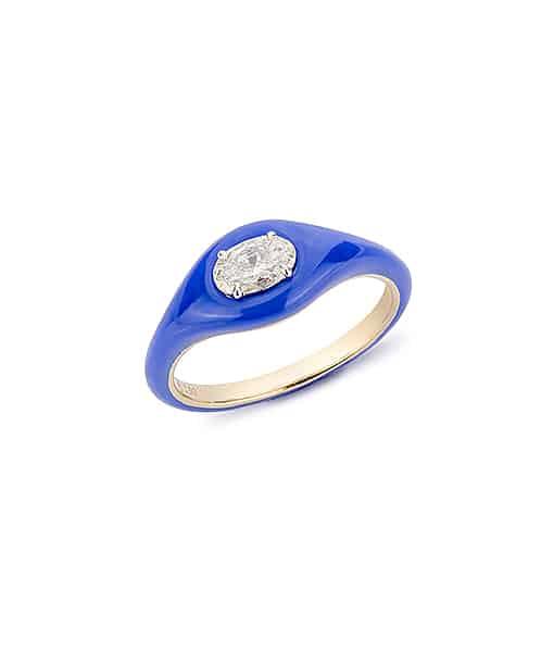 Etho Maria Diamond Oval Dark Blue Ceramic Ring