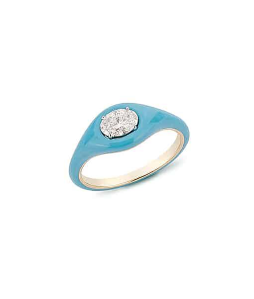 Etho Maria Diamond Oval Light Blue Ceramic Ring