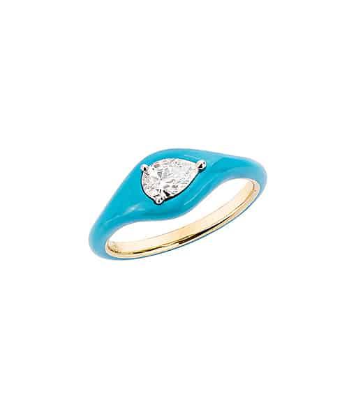 Etho Maria Diamond Pear Blue Ceramic Ring