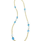 Goshwara Beyond Blue Topaz Tumble with South Sea Pearl Drop Necklace
