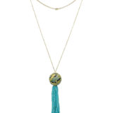 Silvia Furmanovich Obi Waves Marquetry Necklace with Amazonite Beads