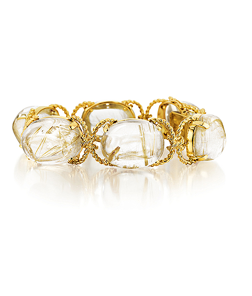 Verdura Pebble Bracelet in Rutilated Quartz