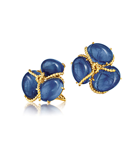 Rope Knot Earclips in Sapphire