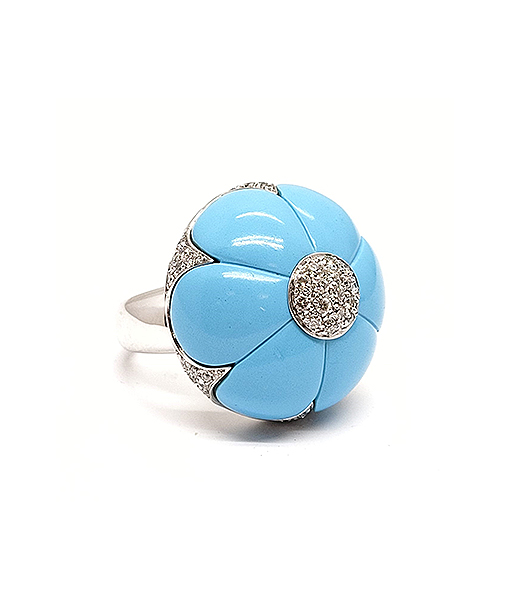 Andreoli Turquoise and Diamond Ring