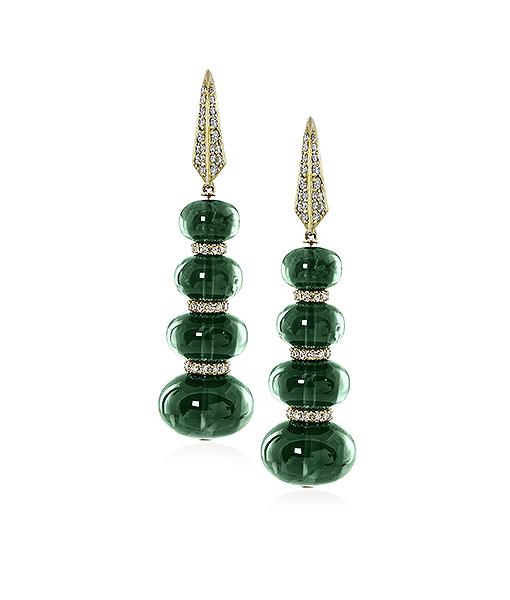 Goshwara G One Emerald Beads Single Line Earrings with Diamonds