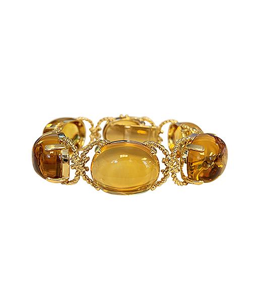 Verdura Citrine and Gold Rope Pebble Bracelet.